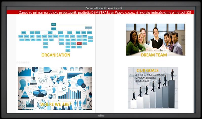 Z orodjem VCB - Visual Communication Board prikazujemo splošne informacije, nadomestimo klasične panoje za prikaz aktivnosti, izvajamo ankete …