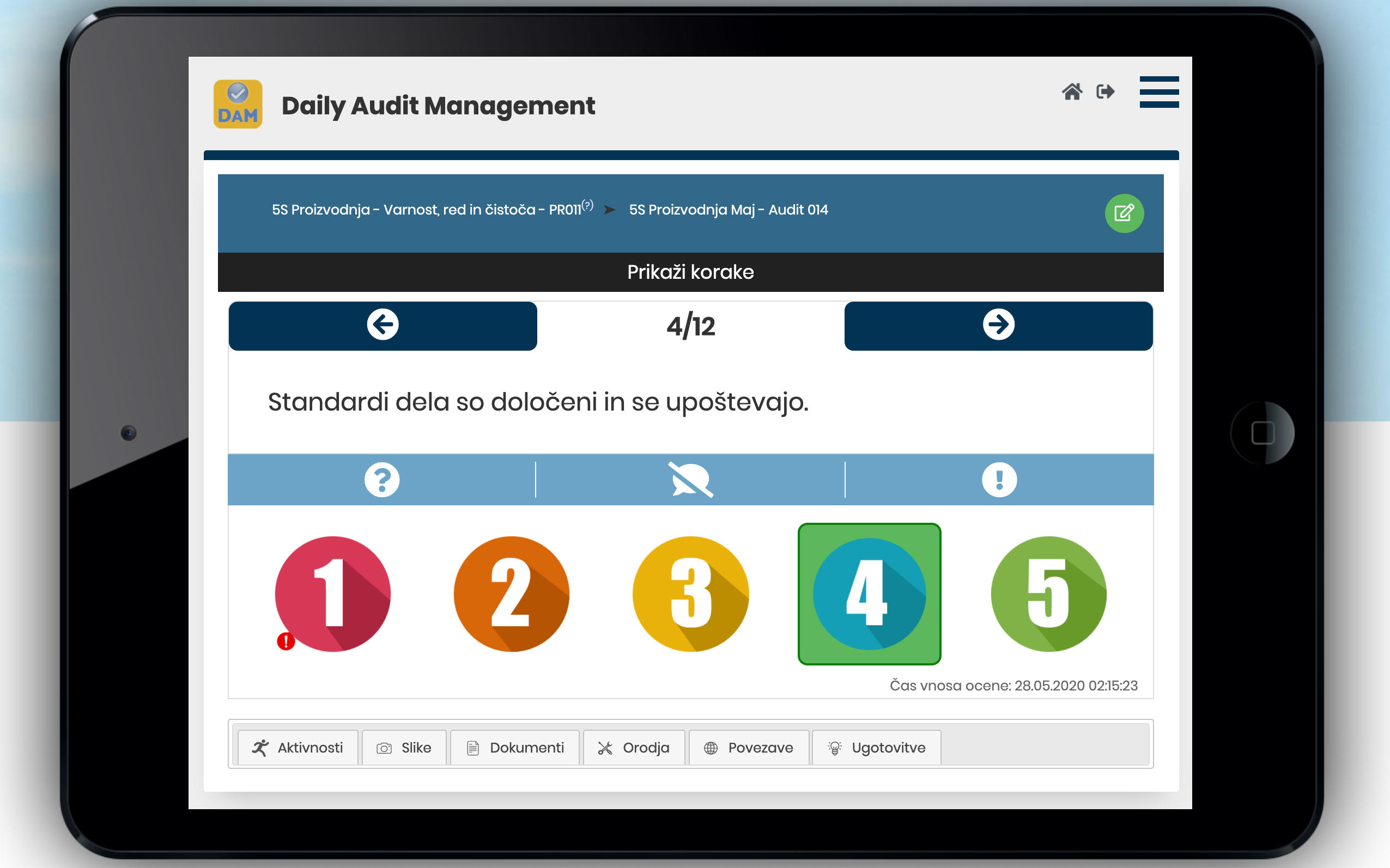 Prikaz orodja DAM – Daily Audit Management za digitalno izvajanje auditov